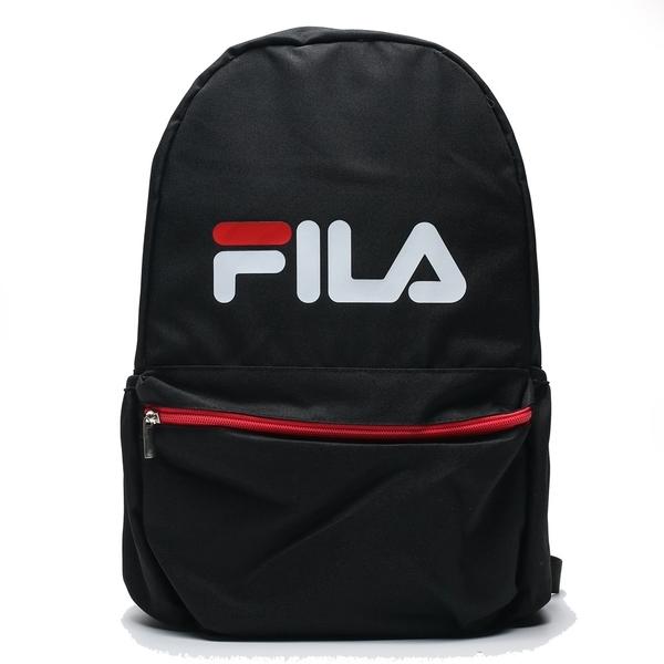 FILA 黑紅 大字LOGO 基本 筆電 大容量 休閒 後背包 男女(布魯克林) BPT9001BK