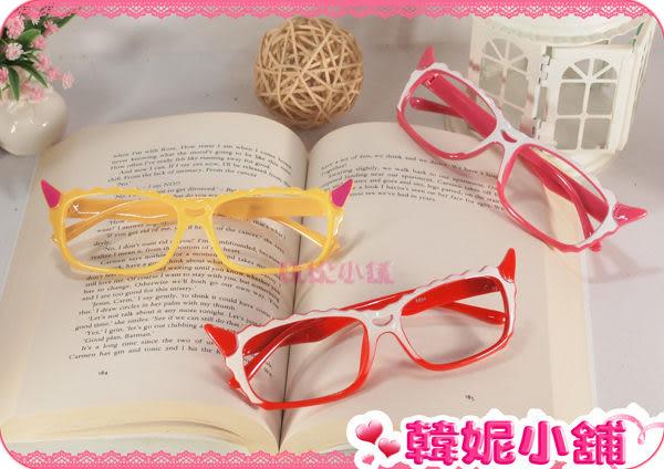 ☆韓妮小舖☆【EX0859】小惡魔亮面眼鏡架 眼鏡框 無鏡片眼鏡框 造型眼鏡