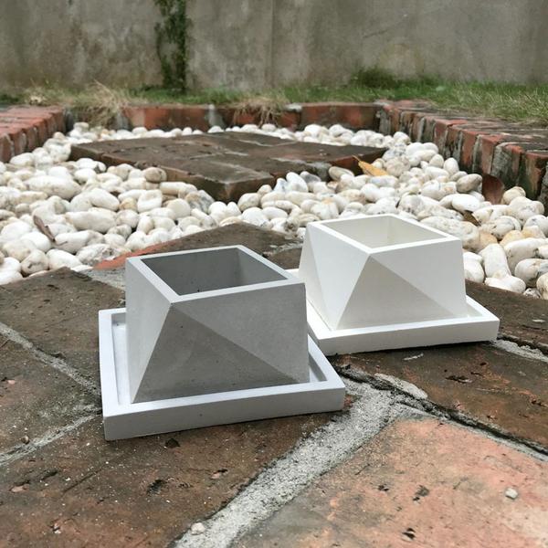(BEAGLE) 方多面型-創意水泥花盆+托盤 多肉水泥花器/仙人掌水泥花盆/水泥植栽/水泥盆器