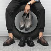 春季休閒男鞋 尖頭套腳皮鞋 一腳蹬懶人鞋【五巷六號】x259