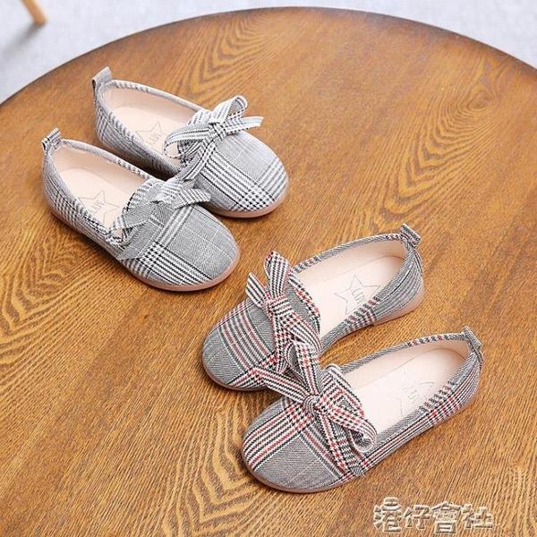 兒童帆布鞋女童鞋子透氣時尚淺口單鞋中小童寶寶休鍊閒軟底 港仔HS