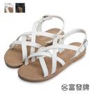 【富發牌】羅馬假期交叉涼鞋-黑/白 1ML150