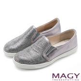 MAGY 甜美休閒 閃耀水晶鑽飾真皮樂福平底鞋-銀色