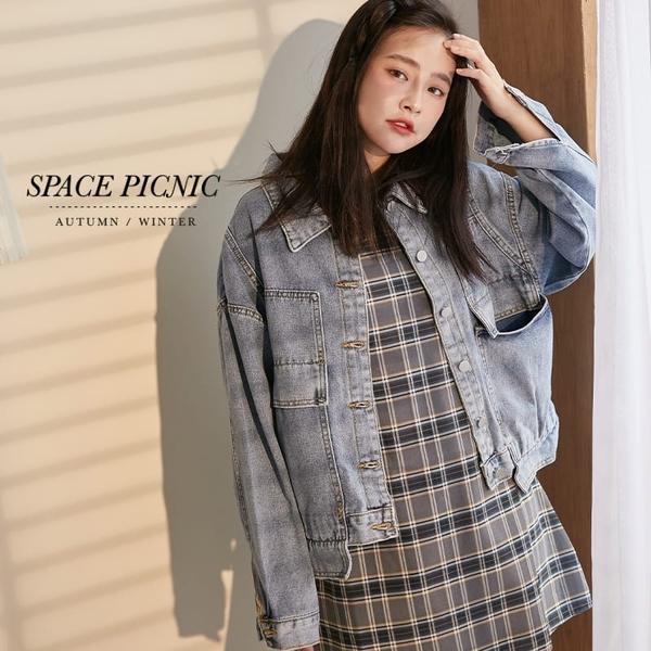 單寧 外套 Space Picnic|銀釦大口袋單寧牛仔外套(預購)【C20091038】