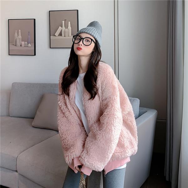 VK旗艦店 韓國風毛毛夾克羊羔絨圈圈羊羔毛單品外套
