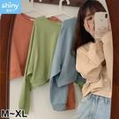 【V3269】shiny藍格子-韓范甜美.純色圓領寬鬆短版長袖上衣
