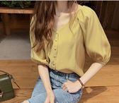 促銷價不退換韓系中大尺碼襯衫襯衣M-4XL/32381/韓版時尚寬松雪紡衫女短袖上衣洋氣純色打底衫