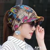 帽子女多功能春夏花朵民族風扎馬尾頭巾帽包頭光頭孕婦帽遮白發帽 果果新品