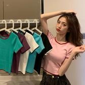 春裝2020年新款撞色圓領短袖紫色冰絲針織衫女短款打底衫bm風上衣
