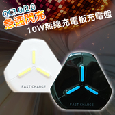 10W 支援QC3.0/2.0急速閃充無線充電板充電盤-白