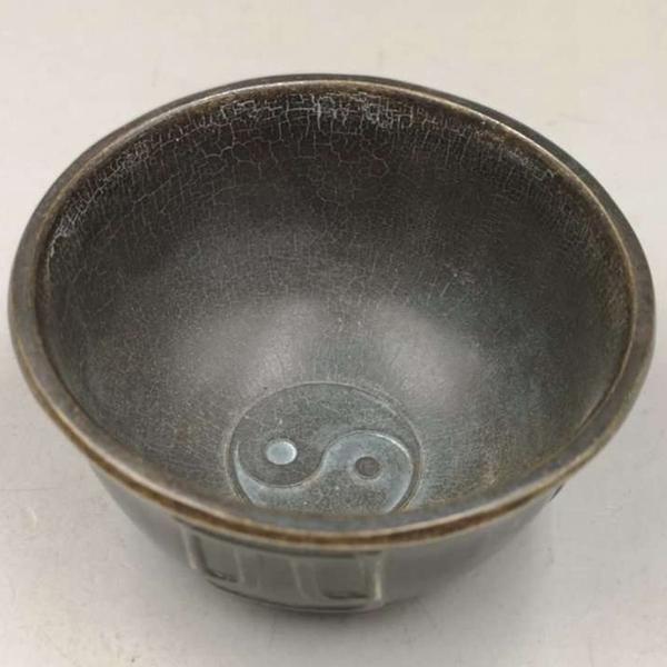 仿古 古玩雜項收藏復古銅器銅碗四季發財碗銅碗太極碗 仿古做舊1入