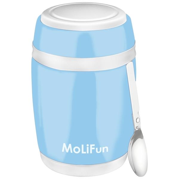 MoliFun魔力坊 不鏽鋼真空保鮮保溫燜燒食物罐480ml-天晴藍(MF0320B)