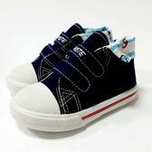 台灣製 海軍風 魔鬼氈帆布鞋《7+1童鞋》C582藍色