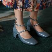 手工真皮女鞋33~40 2020新款法式時尚優雅頭層牛皮珍珠扣環方頭瑪莉珍鞋 中跟鞋~2色