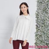 Red House 蕾赫斯-微高領百褶上衣(白色)