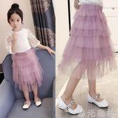 半身裙 女童半身紗裙蓬蓬裙子夏裝新款中大童蛋糕裙洋氣韓版兒童短裙 綠光森林