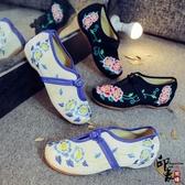 時尚百搭雙生花繡花鞋布鞋旅行拍照軟底舒適透氣鞋舞單鞋 降價兩天