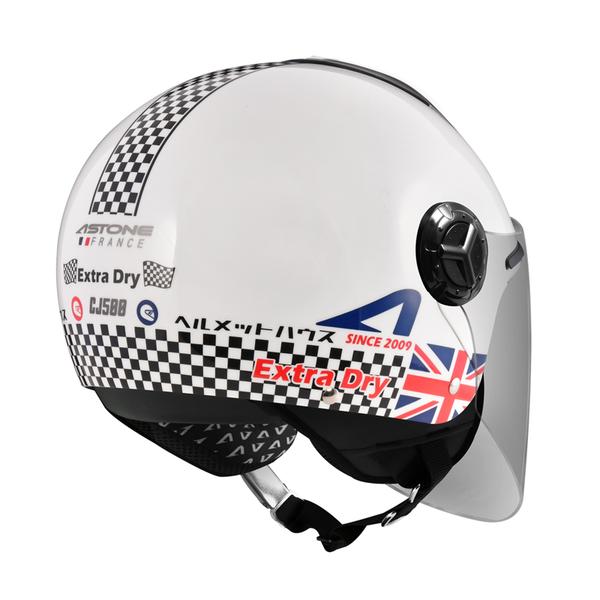 【東門城】ASTONE CJ500 LL11 (白/紅藍) 半罩式安全帽 內藏墨鏡