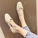 豆豆鞋女2020新款春季百搭單鞋奶奶鞋韓版淺口粗跟水鑚網紅晚晚鞋 618購物節