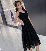 特賣款不退換洋裝禮服宴會裙M-4XL/33021胖mm心機小黑裙款流蘇性感法式複古黑色吊帶連衣裙1號公館