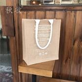 原創棉麻布袋子帆布拉鏈超市購物袋手提大包包女裝書的包 - 歐美韓熱銷