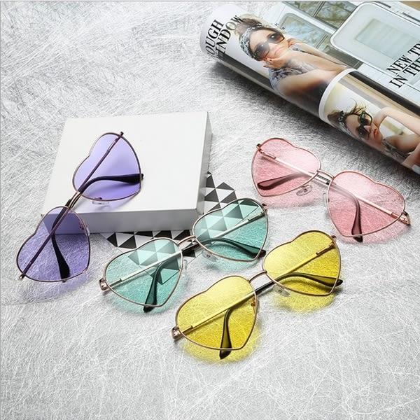 金屬搞怪愛心炫彩墨鏡 心型 男女適用 太陽眼鏡