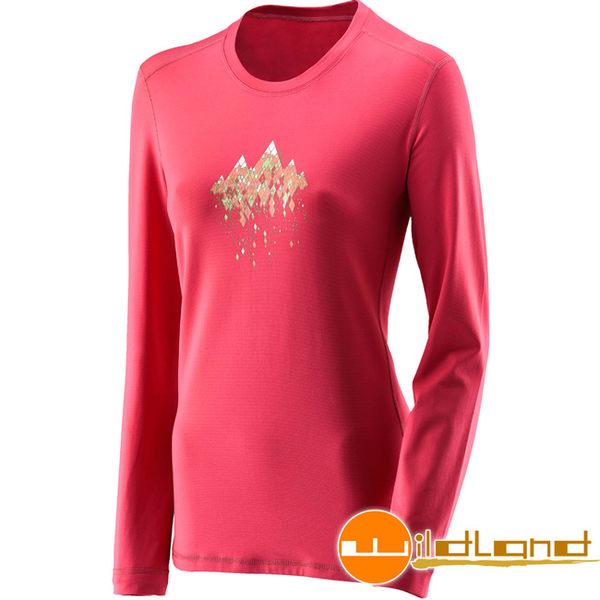 Wildland 荒野 0A22655-09桃紅色 女遠紅外線印花保暖衣 休閒衫/彈性/透氣/中層衣/冬季保暖服飾