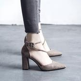 高跟涼鞋 新款女鞋歐美粗跟絨面女士鞋子高跟鞋紅色婚鞋《小師妹》sm2114