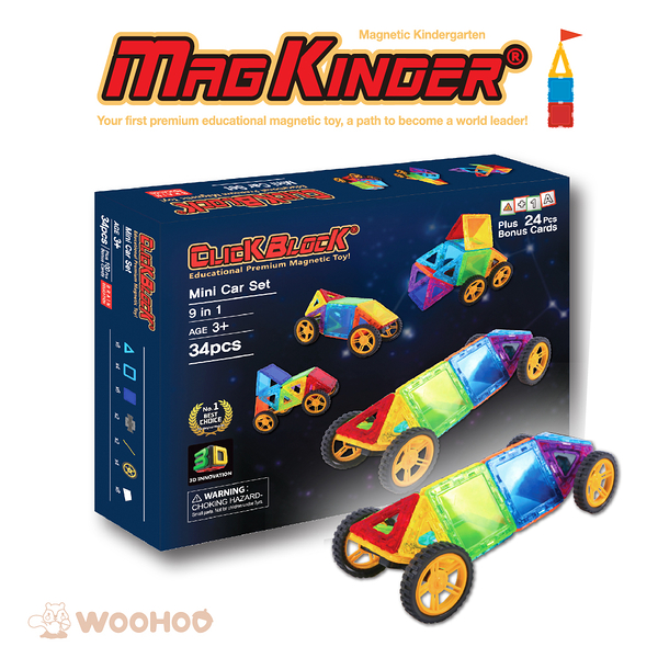 韓國 MagKinder x Click Block 2D 磁性建構片 GOGO迷你車 34件組