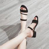 韓版中跟涼鞋拖鞋兩穿女粗跟chic復古羅馬鞋百搭女鞋   蜜拉貝爾