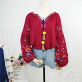 民族風重工刺繡上衣春裝新款女長袖燈籠袖寬鬆流蘇棉麻娃娃衫 原本良品