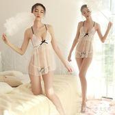 Pink中大尺碼情趣內衣 夜火網紗露乳吊帶小胸睡裙大碼蕾絲透視裝激情套裝騷睡衣 LJ1478