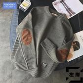 大碼毛衣男士秋冬季針織衫寬鬆圓領加厚線衫 【左岸男裝】