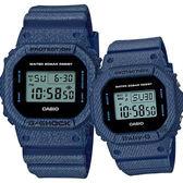 CASIO 卡西歐 限量丹寧情侶對錶-深藍 DW-5600DE-2ADR+BGD-560DE-2DR