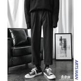 休閒褲冬季褲子男士韓版寬鬆潮流加厚黑色西褲直筒休閒褲潮 易家樂