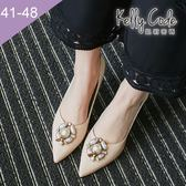 大尺碼女鞋-凱莉密碼-時尚尖頭復古昆蟲寶石漆皮酒杯跟高跟鞋7.5cm(41-48)【GR704】米白