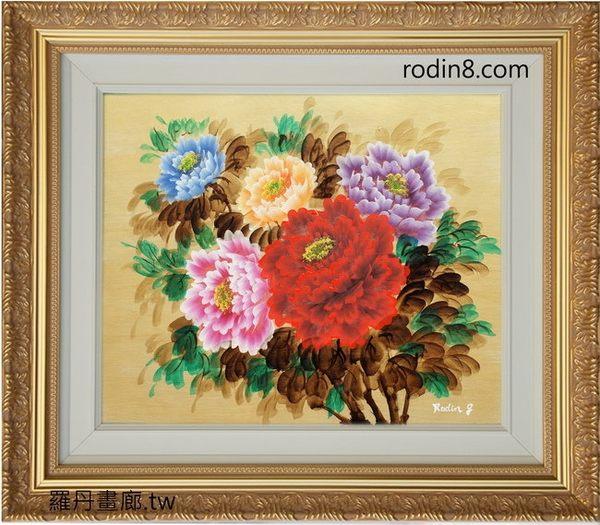 牡丹花/油畫-F6(羅丹畫廊)含框69X79公分(100%手繪)