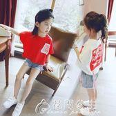 女童t恤短袖夏裝新款韓版潮女大童兒童寬鬆蝙蝠上衣童裝體恤花間公主