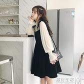 收腰洋裝新款春裝韓版小清新燈籠袖襯衫女時尚兩件套裝