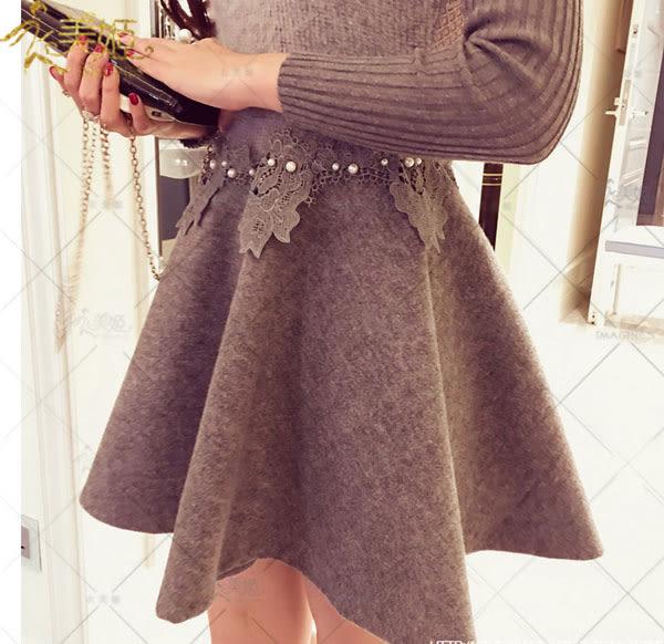 衣美姬♥韓版 收腰顯瘦保暖連身裙 珍珠蕾絲花拼接款傘狀洋裝 正式場合喜宴 約會款