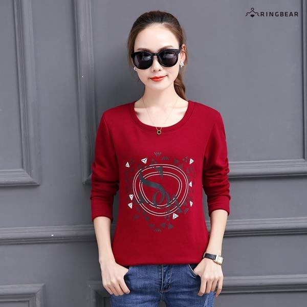 棉T--舒適個性風英字印花寬鬆修身百搭複合絨保暖長袖T恤(黑.紅S-3L)-F160眼圈熊中大尺碼◎