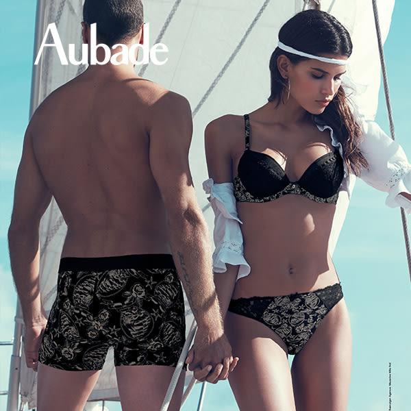 Aubade-拉貝爾海盗S印花蕾絲三角褲(黑)CA