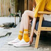 襪子女中筒襪潮韓版秋冬款學院風二杠堆堆襪女日繫純棉加厚保暖襪 潔思米