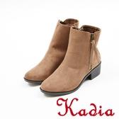 ★2017秋冬新品★kadia.簡約素面絨布粗跟短靴(7710-35棕)