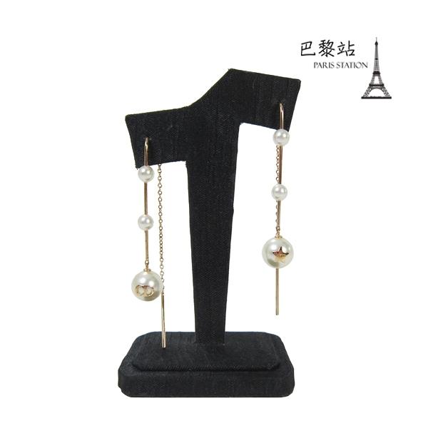 【巴黎站二手名牌專賣店】*現貨*Christian Dior 真品*金色CD字母珍珠垂墜式耳環