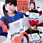 克妹Ke-Mei【AT54646】CHARBS歐美妞最愛龐克撞色字母寬鬆T恤洋裝