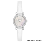 MICHAEL KORS 天使白迷你貝殼面羅馬字水鑽白色皮帶女錶 36mm MK2714 公司貨保固2年 | 名人鐘錶