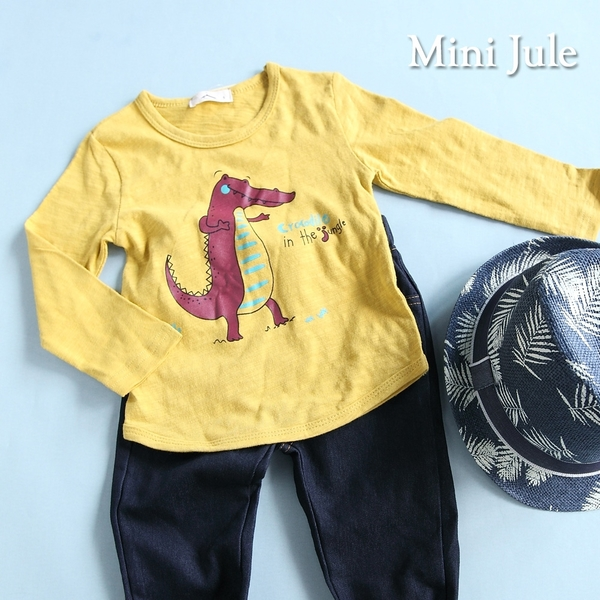 Mini Jule男童 上衣 印花恐龍草原長袖T恤(共2色) Azio Kids 美國派 童裝