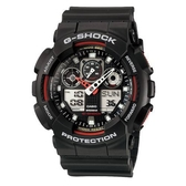 CASIO G-SHOCK 3D立體重型機械防滑紋路雙顯錶-黑X紅(GA-100-1A4)