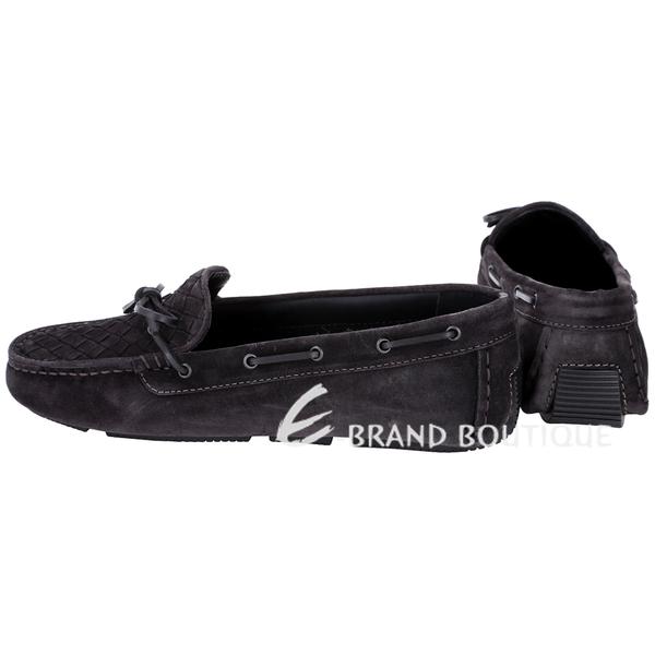 BOTTEGA VENETA  麂皮編織綁帶莫卡辛鞋(黑色) 1510380-01